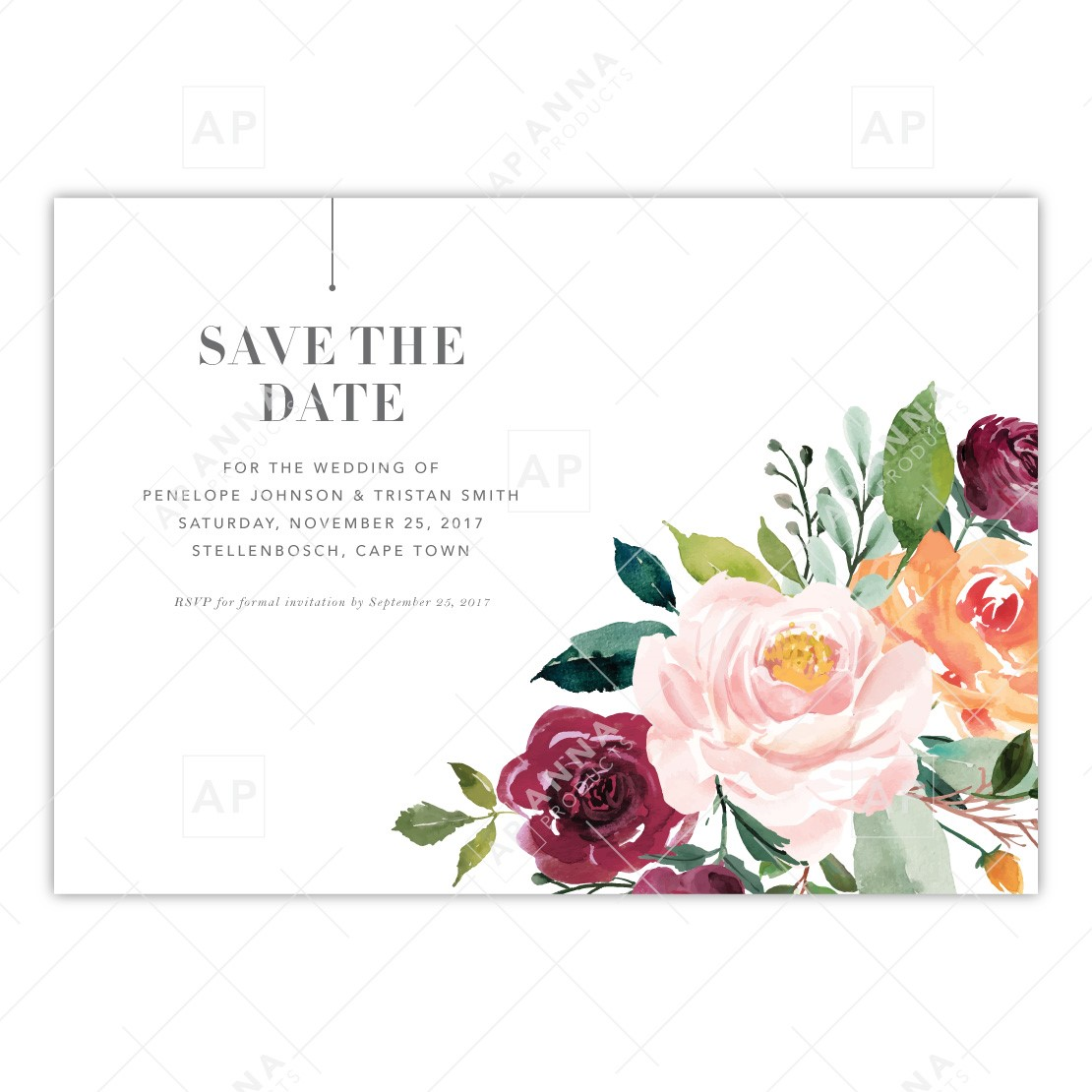save the date burgundy floral anna products