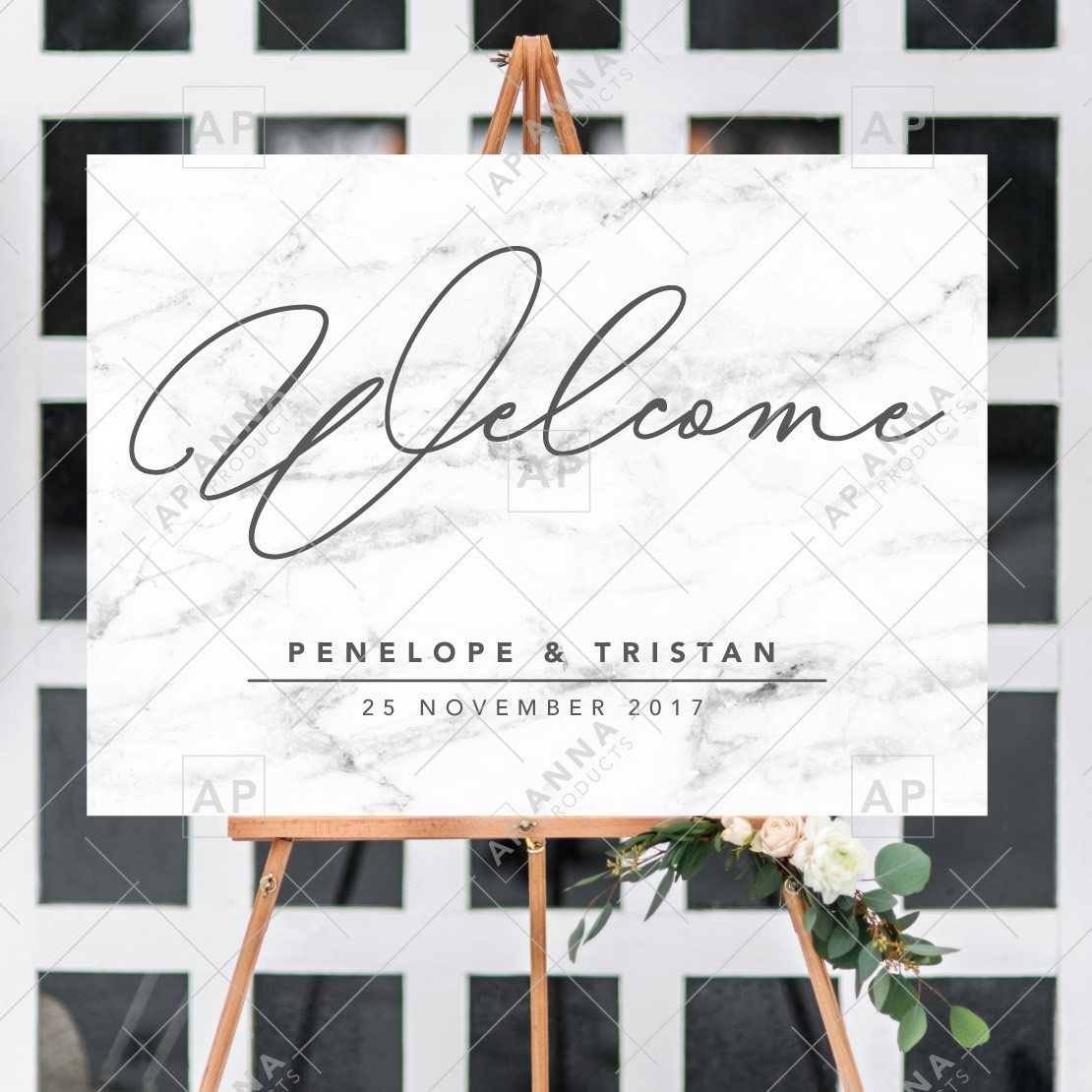 Welcome Sign Botanical Marble Anna Products